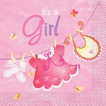 Beverage Napkins-It's a Girl-16pk-2ply- Discontinued