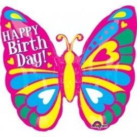Foil Balloon - Happy Birthday Butterfly