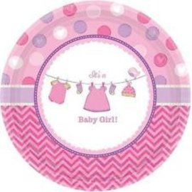 """Beverage Paper Plates- It's a Girl- 8pk-7"""""""
