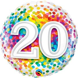 Foil Balloon-20th BD Confetti-18''