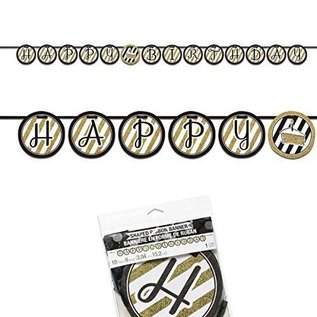 Banner-Black and Gold Ribbon-10ftx6in
