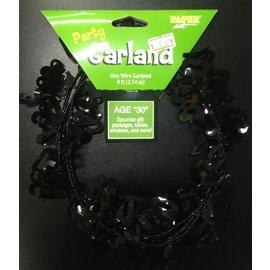 Garland-Age 30-Black-Plastic-9ft