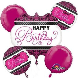 Foil Balloon Bouquet - Pink Damask Happy Birthday - 5 Balloons - 2.1ft