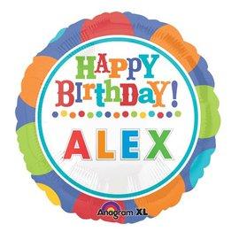 "Foil Balloon - Customizable - Happy Birthday Dots - 18"""