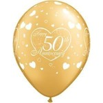 "Latex Balloon-50th Anniversary Little Hearts Gold-1pkg-11"""
