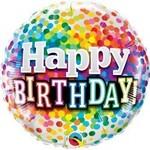 Foil Balloon-Happy Birthday Dots-18''