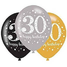 Packaged Latex Balloons-Celebrate 30 HBD-12''-15pk