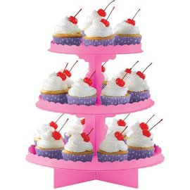 Cupcake Stand-3 Tier-Bright Pink-11.5x11.75''-Card Board-Assemble