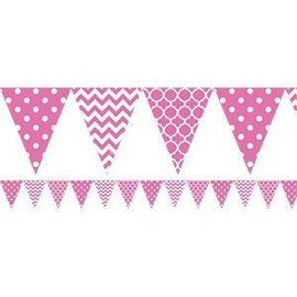 Pennant Banner-Plastic-Pink/ White-12ft-Plastic