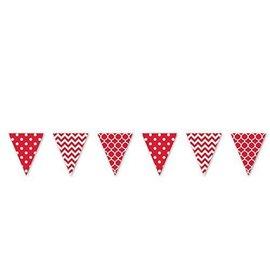Pennant Banner-Plastic-Red/ White-12ft-Plastic