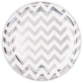 Plates-DN-Plastic-Silver/ White Chevron-Premium-10.5''-10pk