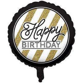 Foil Balloon-Black & Gold HBD-18''