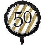 Foil Balloon-Black & Gold 50th Bday-18''