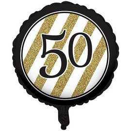 Foil Balloon-Black & Gold 50th Bday-18''