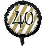 Foil Balloon-Black & Gold 40th Bday-18''
