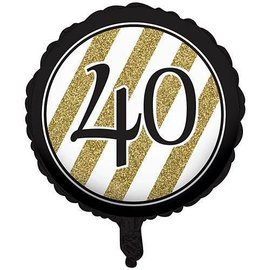 Foil Balloon-Black & Gold 40th Bday-18''