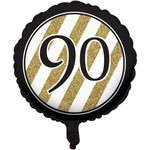 Foil Balloon-Black & Gold 90th Bday-18''