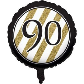 Foil Balloon-Black & Gold 90th Bday-18''