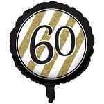 Foil Balloon-Black & Gold 60th Bday-18''