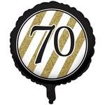 Foil Balloon-Black & Gold 70th Bday-18''