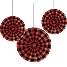 Paper Fan-Buffalo Plaid-10-16''-3pk