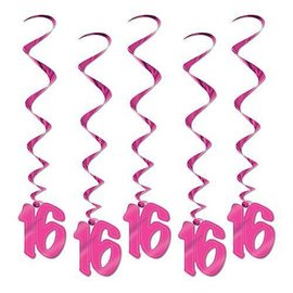 Swirl Decoration-Look Who's 16! Pink-40''-5pk
