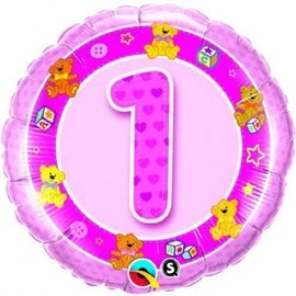Foil Balloon-1st Birthday Girl Pink Teddies-18''