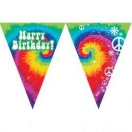 Flag Banner-60's Groovy Happy Bithday-12ft-Plastic