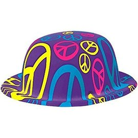 Hat-Bowler Peace Sign 60's-Plastic
