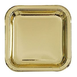 Plates-BEV-Square-Gold Foil-8pk