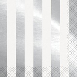 Napkins-LN-Silver Stripes-16pk-2ply