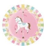 "Beverage Paper Plates- Carousel- 8pk/7"""