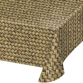 Table Cover-Bamboo/Basket Weave AOP-54''x108''-Plastic- Discontinued