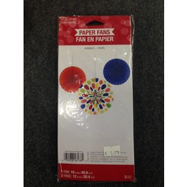 Paper Fans-Multi Color-12''~16''-3pk
