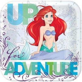 Plates-BEV-Square-Little Mermaid Ariel-7''-8pk-Paper
