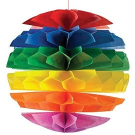 Paper Tissue Ball - Striped Rainbow - 8""