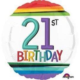 """Foil Balloon - 21st Birthday Rainbow - 17"""""""