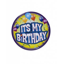 Jumbo Birthday Button- Its My Birthday Purple