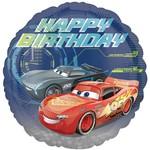 "Foil Balloon - Happy Birthday Cars - 17"""