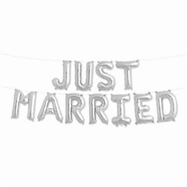 Air Filled Just Married Balloon Kit Silver
