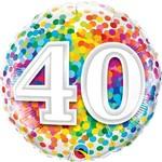 "Foil Balloon - 40 Confetti Birthday - 18"""