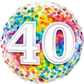 Foil Balloon - 40 Confetti Birthday - 18""