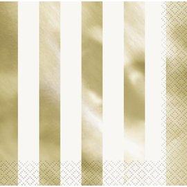 Napkins-LN-Foil Gold Stripes-16pk-2ply
