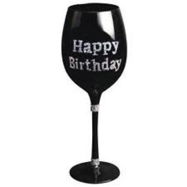 Wine Glass - Happy Birthday Silver