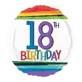 "Foil Balloon - 18th Birthday Rainbow 18"""