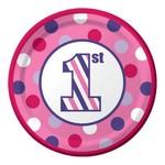 Beverage Paper Plates-1st Birthday Sweet Stripes Girl-Final Sale