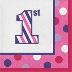 Luncheon Napkins-1st Birthday Sweet Stripes Girl-Final Sale