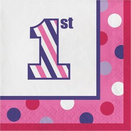 Luncheon Napkins-1st Birthday Sweet Stripes Girl-Final Sale