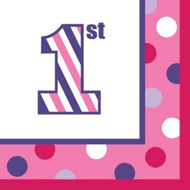 Napkins Bev - 1st Birthday Sweet Stripes Girl/Final Sale