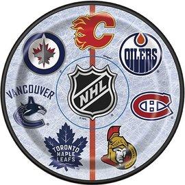 "Beverage Paper Plates-NHL-8pk-6 3/4"""
